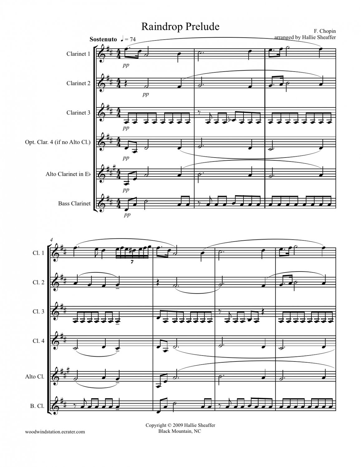 Chopin Raindrop Prelude for Clarinet Choir