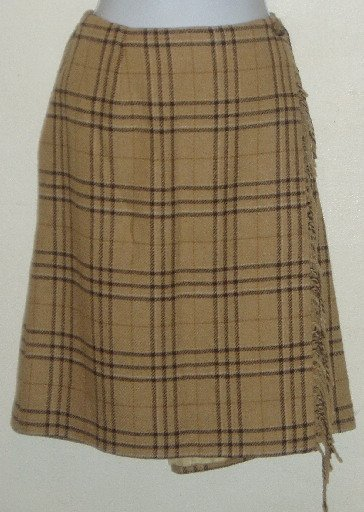 NWT Brown Plaid Sag Harbor Petite Faux Wrap Skirt Sz 12