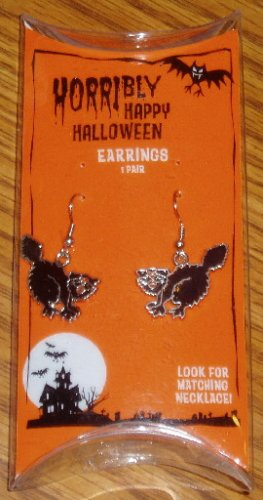Halloween Black Cat Dangle Novelty Earrings NIP