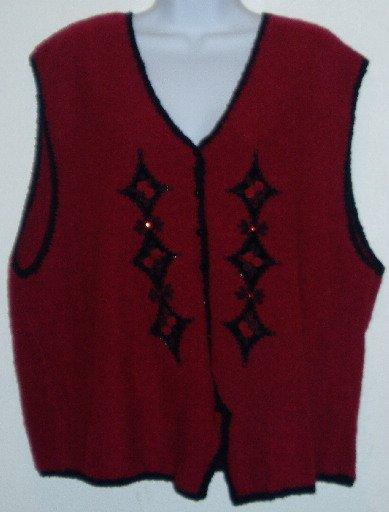 Red Black Koret Embellished Wool Blend Vest Size 1X