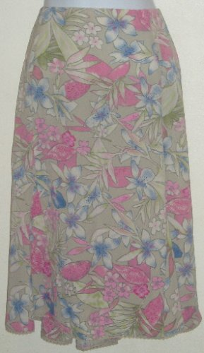 NWT Sag Harbor Tan Floral Skirt Lace Trim Side Zip Size 16