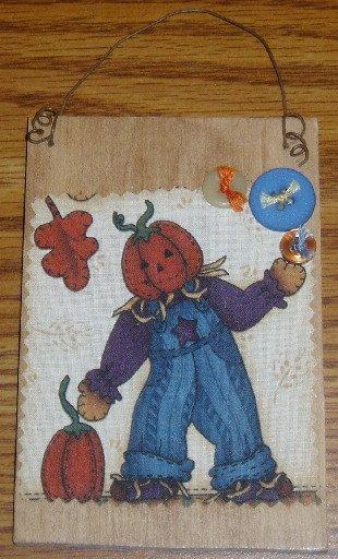 Pumpkin Scarecrow Wooden Plaque Halloweeen Fall Decor
