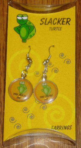 Slacker Turtle You Scare Me Novelty Dangle Earrings