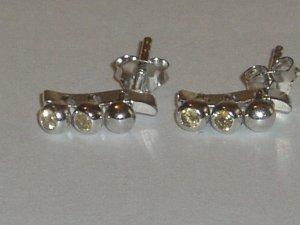.925 Sterling Silver Citrine Dangle Earrings