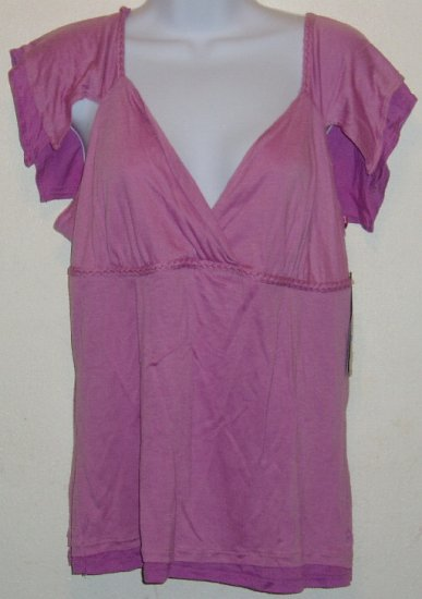 NWT Kenneth Cole Pink Flutter Sleeve Shirt Size XL