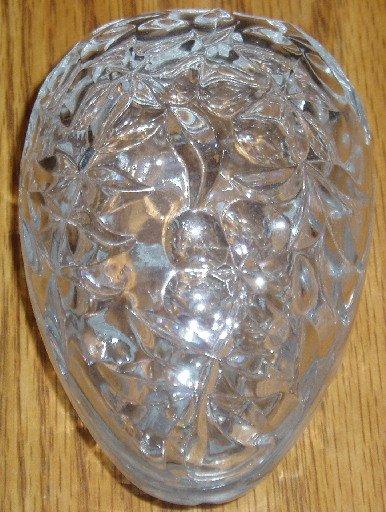 Clear Glass Oval Shape Trinket Box Floral Flower Design