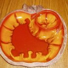 USA Pottery Apple Shaped Snack Tray Orange/Red #804