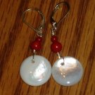 Mother of Pearl & Red Coral Sterling Silver Earrings