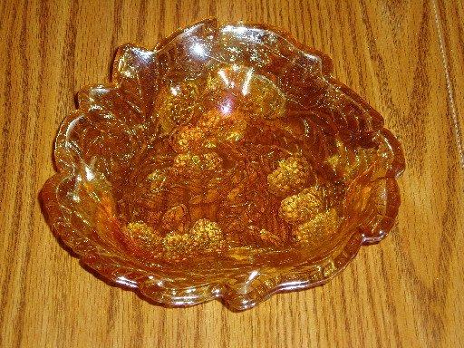 Indiana Glass Loganberry Marigold Carnival Bon Bon Bowl