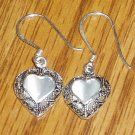 Sterling Silver & Cat's Eye Heart Shape Dangle Earrings