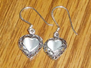 Sterling Silver & Cat's Eye Heart Shape Dangle Earrings