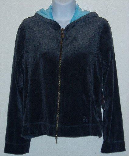 Oleg Cassini Grey/Turquoise Hooded Top/Jacket Sz PM NWT