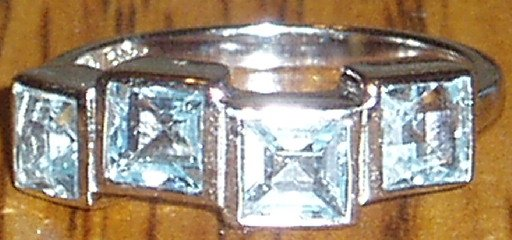 Italian Made .925 Sterling Silver Topaz Ring Size 6