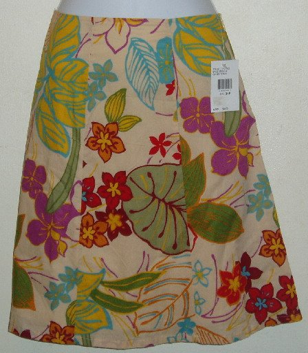 NWT Izod Tropical Print Skirt Size 14 Petite 100% Cotton