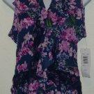 NWT Navy Blue/Pink Floral Allison Taylor Blouse/Top Large