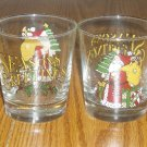 Set of 2 Anchor Hocking Santa/Holiday Rocks Glasses
