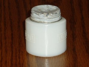 Vintage Woodbury Milk Glass Bottle/Jar Scroll Design