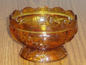 Amber Cut Glass Pattern Candy/Sugar Bowl Scalloped Edge