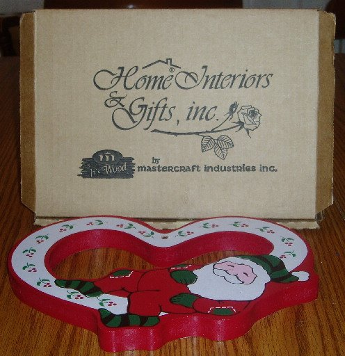 Home Interiors Santa/Bunny Heart Shape 2 Sided Plaque