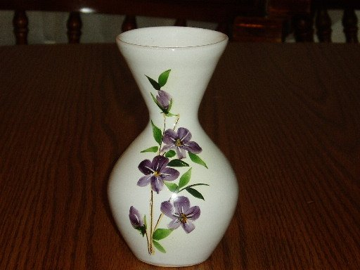 Italian Vase Purple Handpainted Flowers White Base