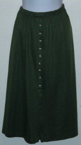 Olive Green Faux Button Front Skirt Size 18 1X