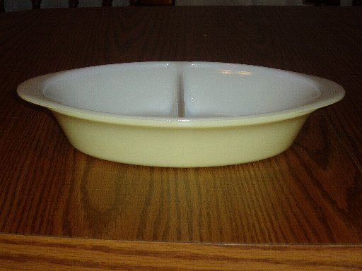 Vintage Glasbake Yellow Divided Vegetable/Baking Dish