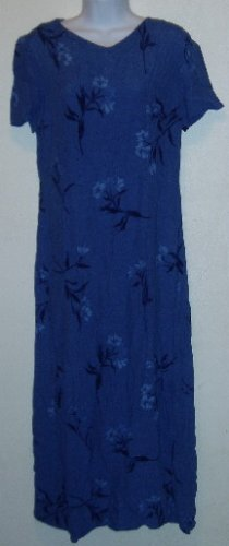 Talbot's Size 8 Purple/Blue Floral Dress Short Sleeve