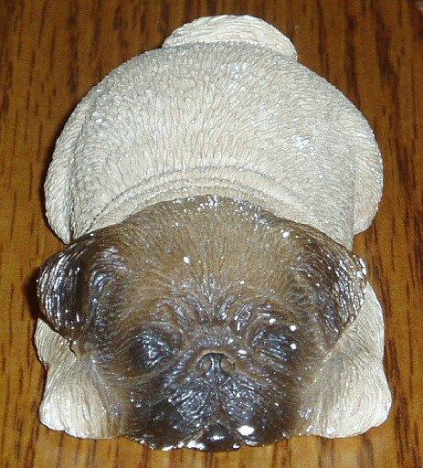 Sandicast Sleeping Pug/Dog Figurine Fawn Sandra Brue