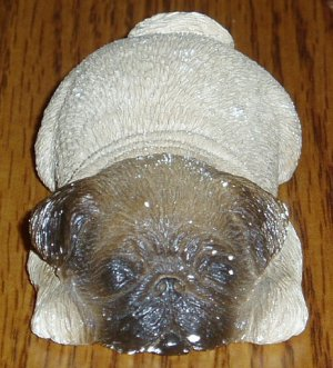 Sandicast Sleeping Pug/Dog Figurine Fawn Sandra Brue