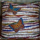 Pier 1 Pillow Butterfly Design Multi-Color Stripe Beads