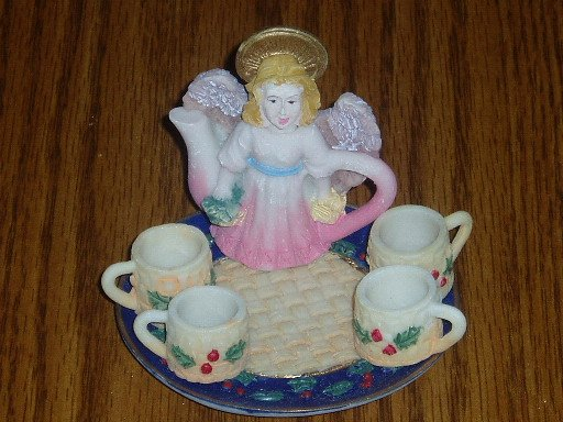 Holly Angel Miniature Tea Set Christmas/Holiday Decor
