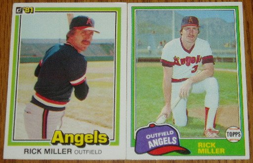 Lot of 2 Rick Miller Angels Cards Donruss & Topps MLB