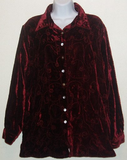 White Stag Woman Red Embroidered L/S Shirt Sz 14W/16W