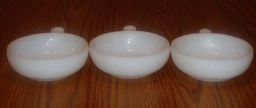 Set of 3 Glasbake Milk Glass Chili/Soup Bowls W/Handle