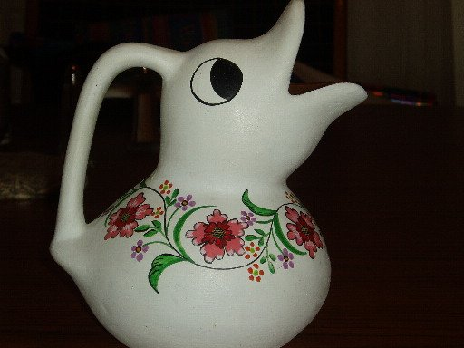 Duck Shaped Mexican Pottery Jug/Pitcher Floral Design