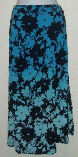 Valerie Stevens Blue Floral Dip Dyed Rayon Skirt Sz 3X