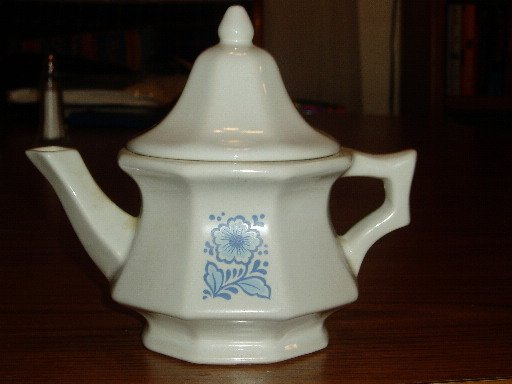 Avon Blue Floral Teapot Shaped Candle Holder