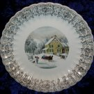 American Limoges Currier and Ives Winter Scene Plate