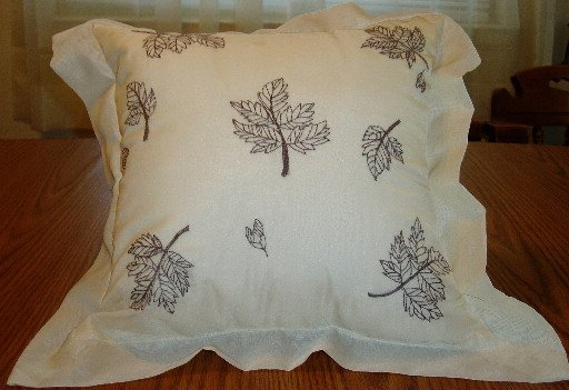 White Pillow W/Brown Leaf Print Machine Embroidered