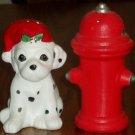 Dalmation in Santa Hat & Fire Hydrant Salt Pepper Shakers