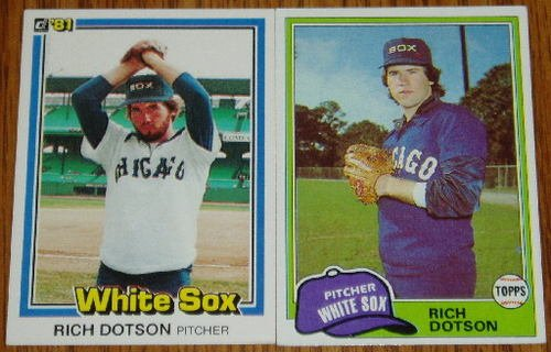 Lot of 2 Rich Dotson White Sox Cards Donruss Topps MLB