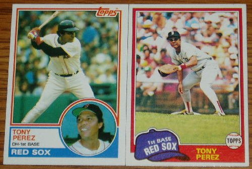 Lot of 2 MLB Topps Tony Perez Cards #575 715 1981 1983