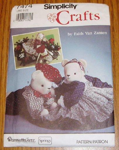 Simplicity Crafts Stuffed Bear Bunny Pattern Uncut #7474