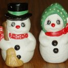 Snowman Couple Salt Pepper Shaker Set Winter Holiday