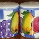 Purple White Check With Fruit Pattern Salt Pepper Shakers