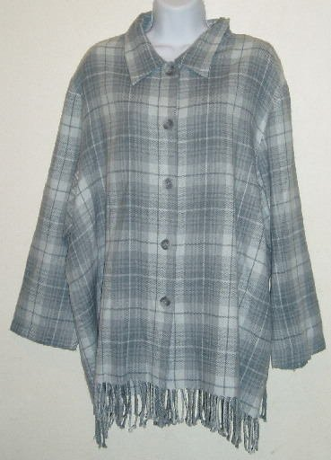 Norton McNaughton Gray Plaid Fringed Shirt Sz 22 24 2X