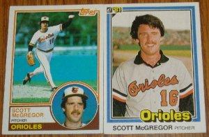 Lot of 2 Scott McGregor Orioles Cards Donruss & Topps MLB