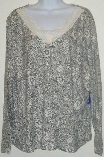 NWT Karen Scott Black White Long Sleeve Shirt Top Sz 2X