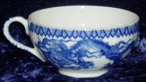 Blue White Marked Occupied Japan Flying Dragon Teacup