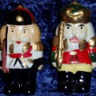 Ceramic Nutcracker Soldier Salt Pepper Shaker Set Holiday